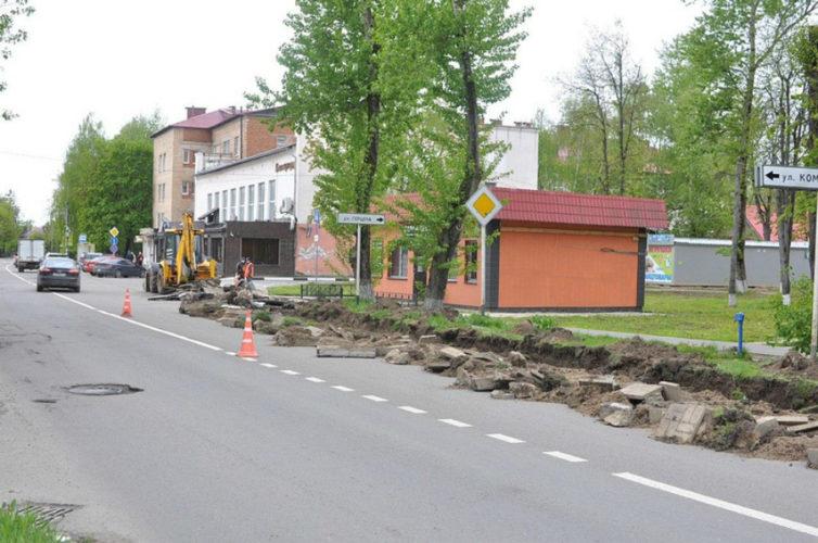 В Звенигороде ремонтируют улицу Пролетарскую