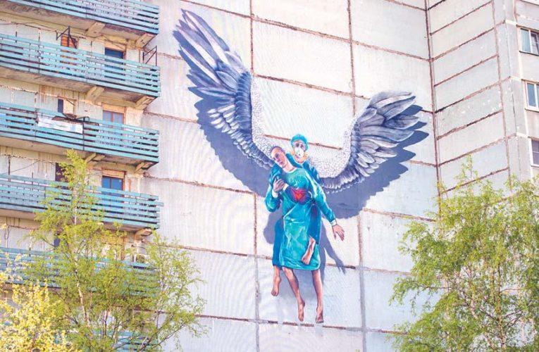 В Одинцово создали граффити ко Дню медсестры